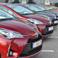 Toyota Yaris Hybrid vehicles on the parking